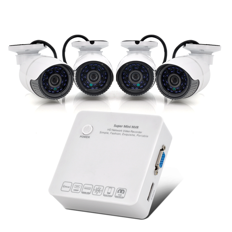 4 Channel 1080p/960p/720p HD Network Video Recorder System - Cloud P2P, E-SATA Port, 4x 720p IP Cameras, ONVIF Support