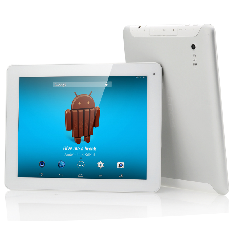 E-Ceros Revolution Android 4.4 KitKat Tablet - 8000mAh, 2048x1536 IPS Retina Screen, Quad Core 1.6 GHz CPU, 2GB Ram (White)