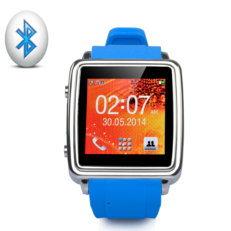 Bluetooth Smart Watch 'MiGo' - SMS + Phonebook Sync, Make + Answer Calls, Touch Screen (Blue)