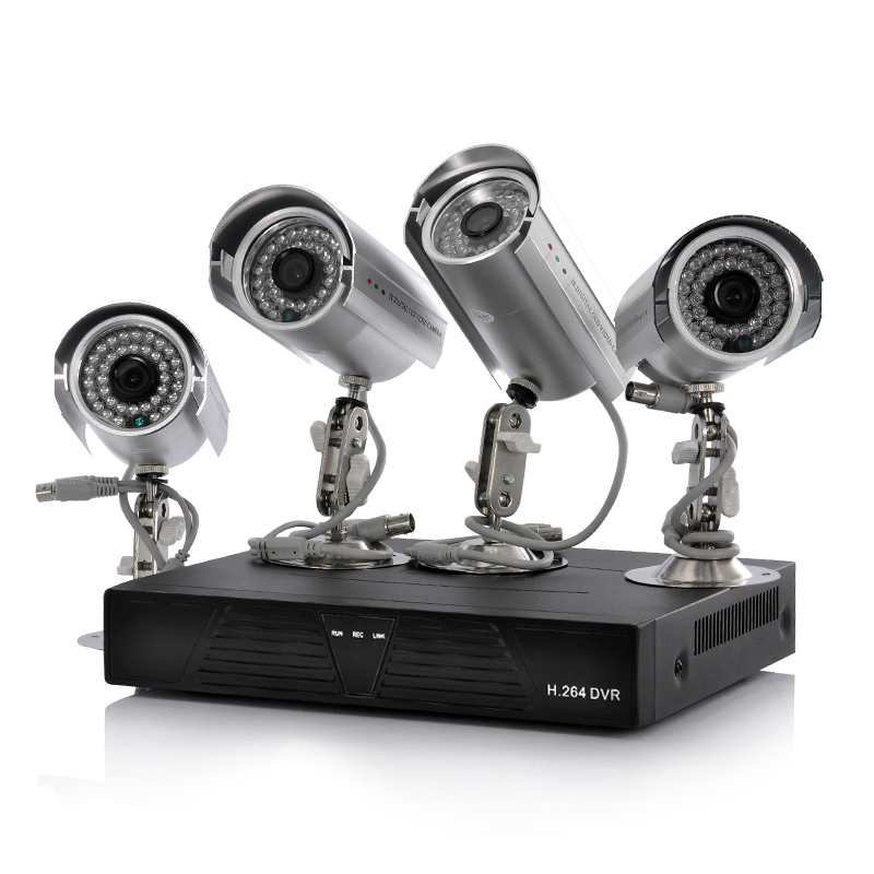 4 Camera + DVR Surveillance Kit - 4 Outdoor IP Cameras, H.264, 500GB, Supports Mobile Phone Browsing