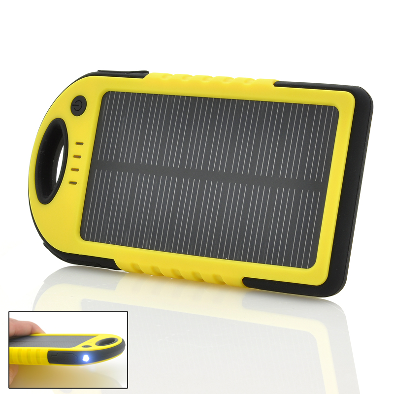 Rugged Solar Powered Charger - 5000mAh Lithium Battery, Dual USB Output, Weatherproof + Dustproof + Shockproof, LED Torch