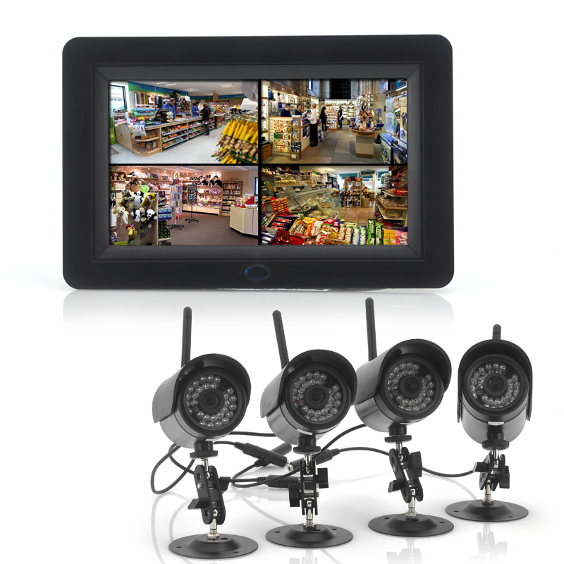 2.4GHz Wireless Digital Security Video System - 7 Inch LCD 4 Channel Monitor, 4x Cameras, Night Vision, Remote Control Support