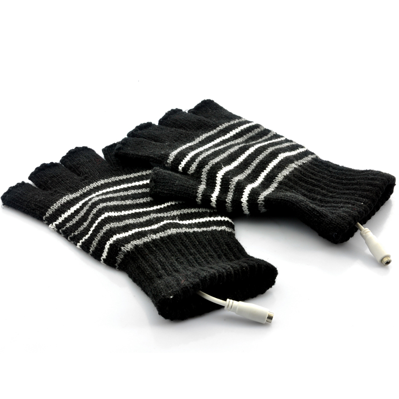 Fingerless Gloves for Men - Heated, USB Cable, Black