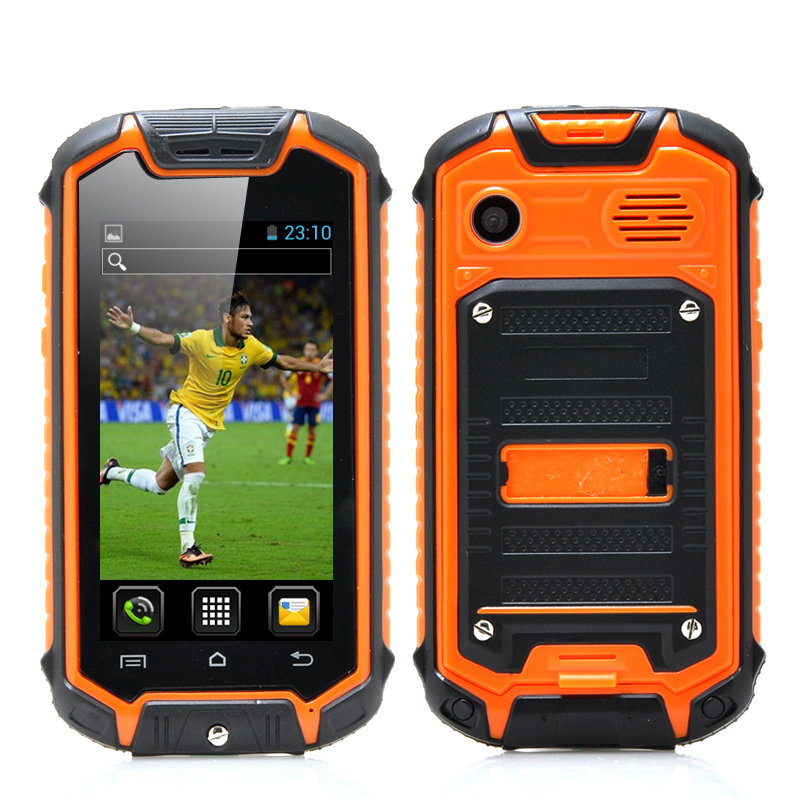 Mini Nano Rugged Mobile Phone with Android 4.2 - 2MP Rear Camera, Water Resistant, Earphones (Orange)