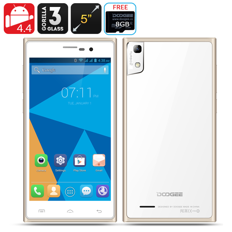 DOOGEE TURBO2 DG900 Phone - Android 4.4 OS, 5 Inch Display, Corning Gorilla Glass 3, 18MP Rear Camera (Champagne)