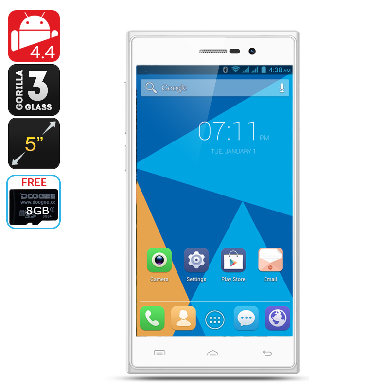 DOOGEE TURBO2 DG900 Android 4.4 Phone - 5 Inch Display, Corning Gorilla Glass 3, 18MP Rear Camera (White)