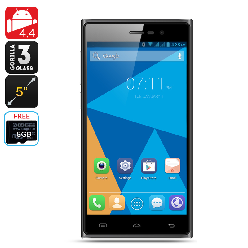 DOOGEE TURBO2 DG900 Octa Core Phone - 5 Inch Display, Corning Gorilla Glass 3, 18MP Rear Camera, Android 4.4 (Black)
