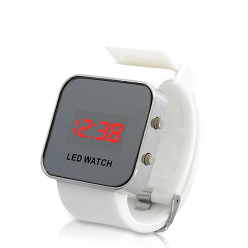 Mirror LED Watch with Digital Display and Rubber Strap (White)