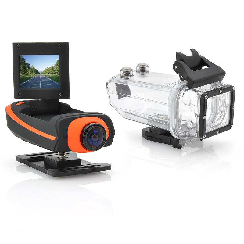 Full HD Sports Camera 'ProView HD II' - 1080p, Waterproof Case, HDMI, 4 Mounting Accessories (Orange)