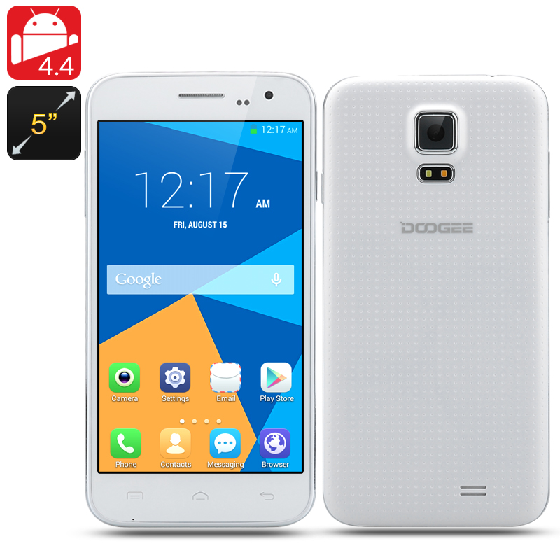 DOOGEE VOYAGER 2 DG310 Android 4.4 Phone - 5 Inch 854x480 IPS Screen, MTK6582 Quad Core 1.3GHz CPU (White)