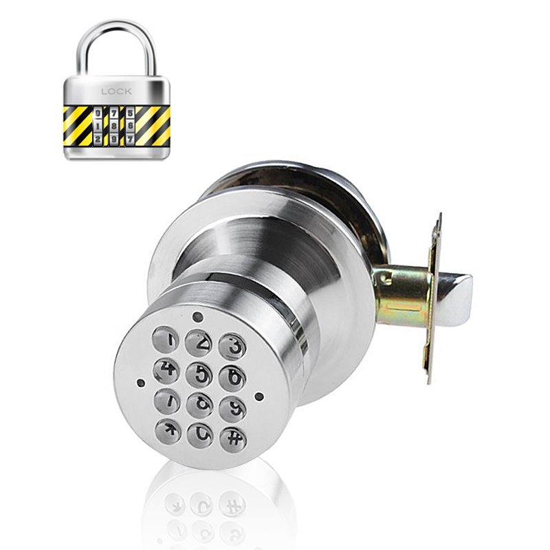 Battery Operated Security Door Lock - Silver Zinc Metal Alloy, Anti Spy Code Encryption, 15000 Hours Battery Usage Time