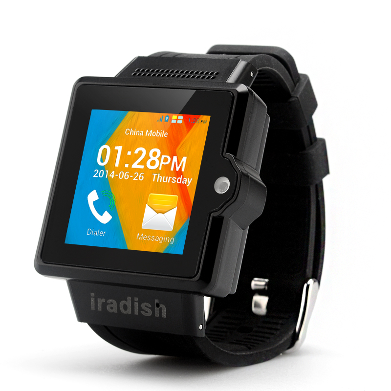 iradish i6S Android Watch Phone - 1.54 Inch Capacitive TFT Screen, MTK6577 Dual Core 1.0GHz CPU, 4GB ROM, 3G (Black)