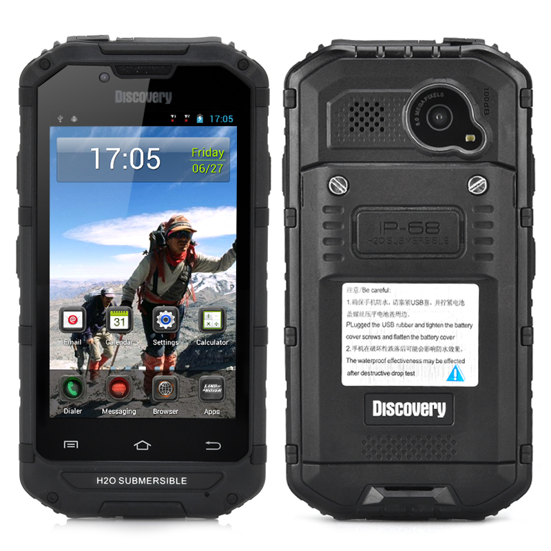 4 Inch Rugged Android Smartphone - IP68 Waterproof + Dust Proof Rating, 8MP Rear Camera, CDMA 3G (Black)