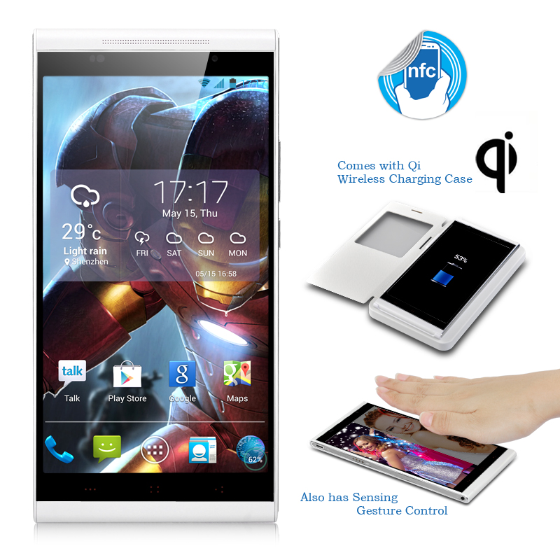 KingZone K1 Turbo Android Phone - 5.5 Inch 1920x1080 OGS Screen, MTK6592 Octa Core 1.7GHz CPU, Qi Wireless Charging Case (White)