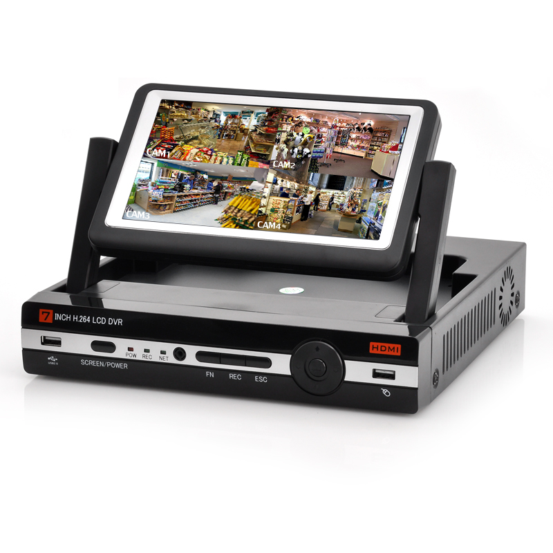 4 Channel DVR With 7 Inch Monitor - H.264 Video Compression, D1 Resolution Record + Playback, HDMI Output, Support Phone Viewing