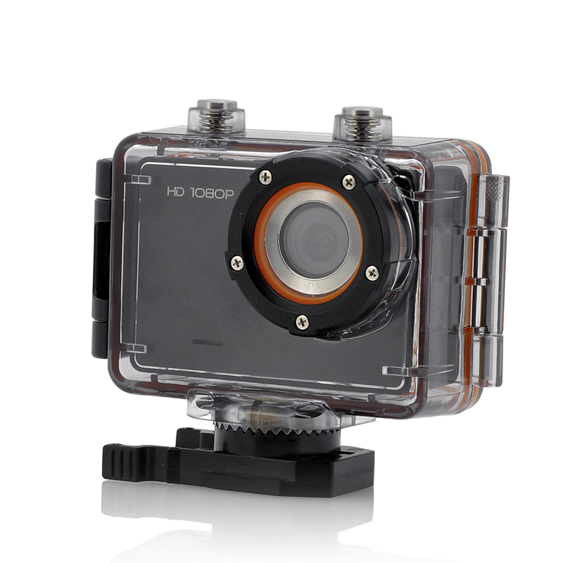 1080p Sports Action Camera 'Wave' - 1.5 Inch Display, 30M Waterproof, G-Sensor, Touch Button, 4 Mounts, 4x Digital Zoom