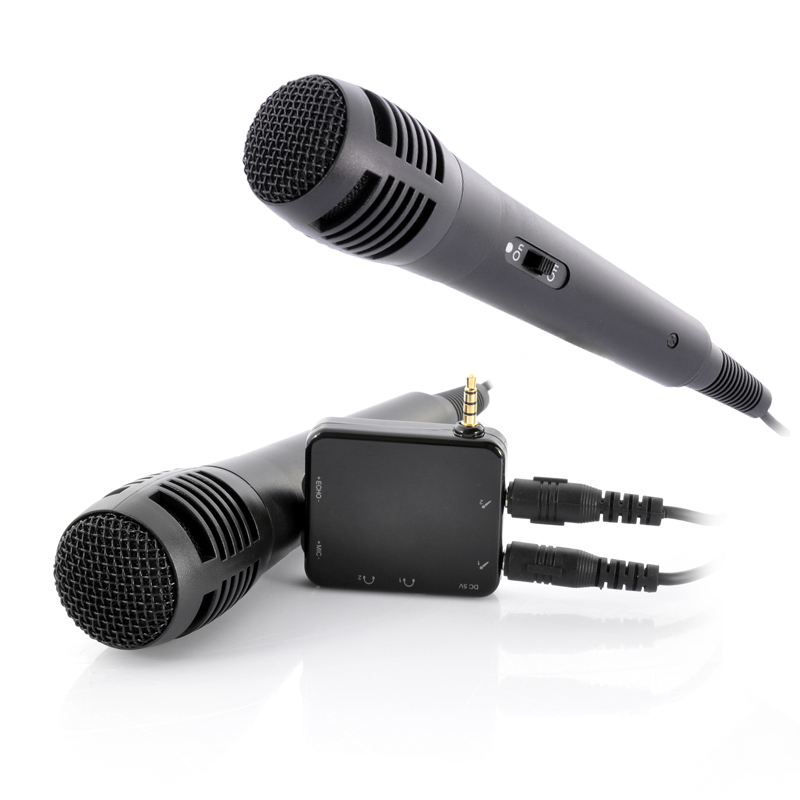 Portable Karaoke Player With 2 Microphones - For Phone, Tablet, TV