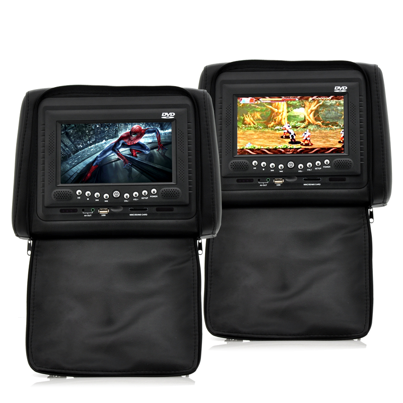 Car Headrest DVD Player/Game System Black (Pair) - 7 Inch Screen