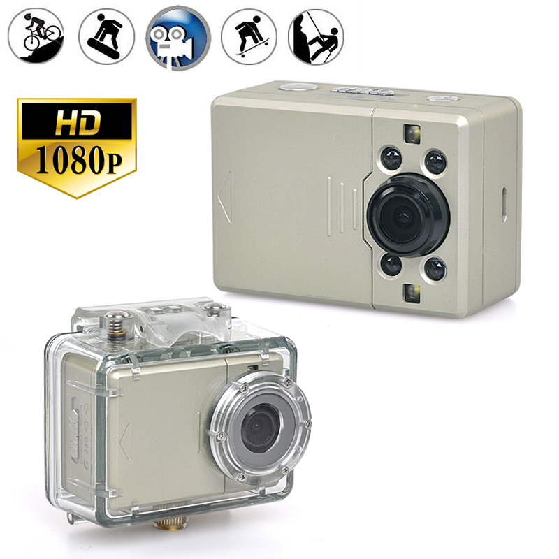 1080p Waterproof Sports Action Camera with 130 Degree Wide Angle Lens - 4x Digital Zoom, 2 Inch Touch Screen