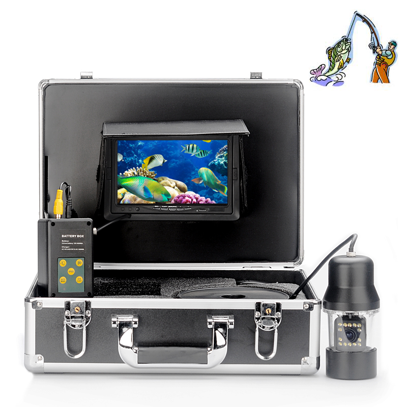 Underwater Fishing Camera with Metal Housing - 360 Degrees, 1/3 Inch SONY CCD, Remote Control, 7 Inch LCD Monitor, 480 TVL