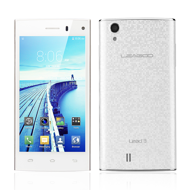 LEAGOO Lead 3 Android 4.4 KitKat Smartphone - 4.5 Inch 960X540 IPS Screen, MTK6582 Quad Core 1.3GHz CPU (White)