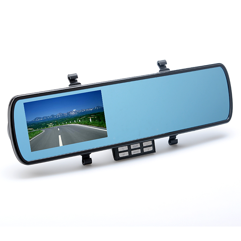 4.3 Inch Car Black Box Rear View Mirror - G-Sensor, Motion Detection, Timing Shutdown