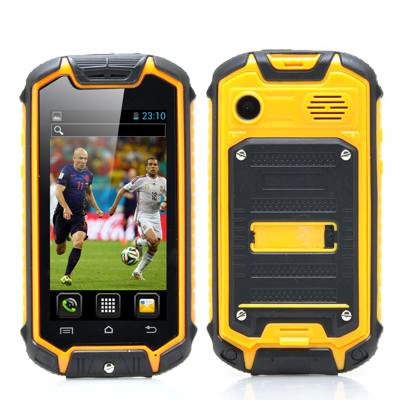 2.4 Inch Mini Rugged Phone - Android 4.2 OS, 2MP Rear Camera, Water Resistant, Earphones (Yellow)