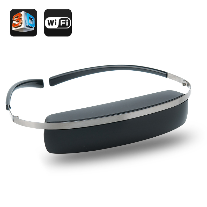 98 Inch 2D/3D Virtual Screen Wireless Wi-Fi Video Glasses - 854x480 Display, Support Miracast For Android Device