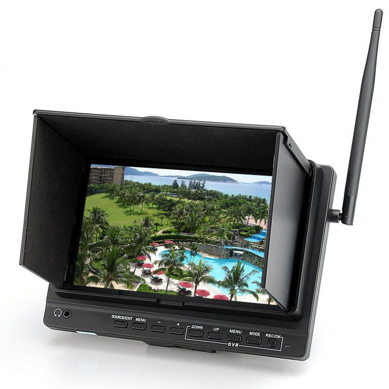 7 Inch HD PFV Monitor - Wireless 5.8GHz, 32 Channels Receiver DVR, 700:1 Contrast Ratio, 1024X600 Resolution, HDMI, SD Card Slot