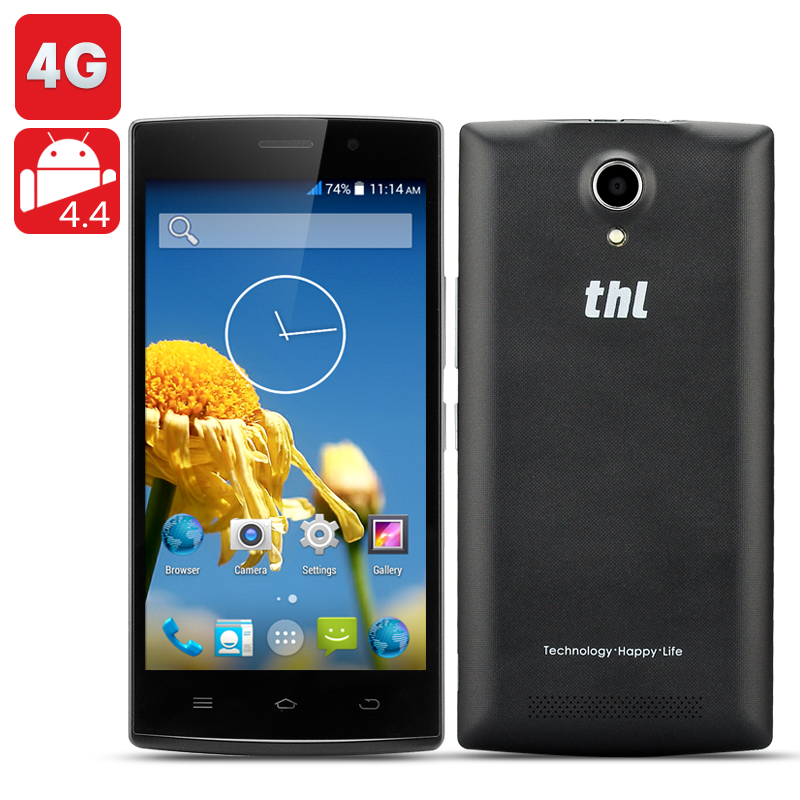 THL L969 4G Phone - 5 Inch 854x480 IPS Screen, MT6582 Quad Core 1.3GHz CPU, 1GB RAM, 8GB ROM, Android 4.4 KitKat OS (Black)