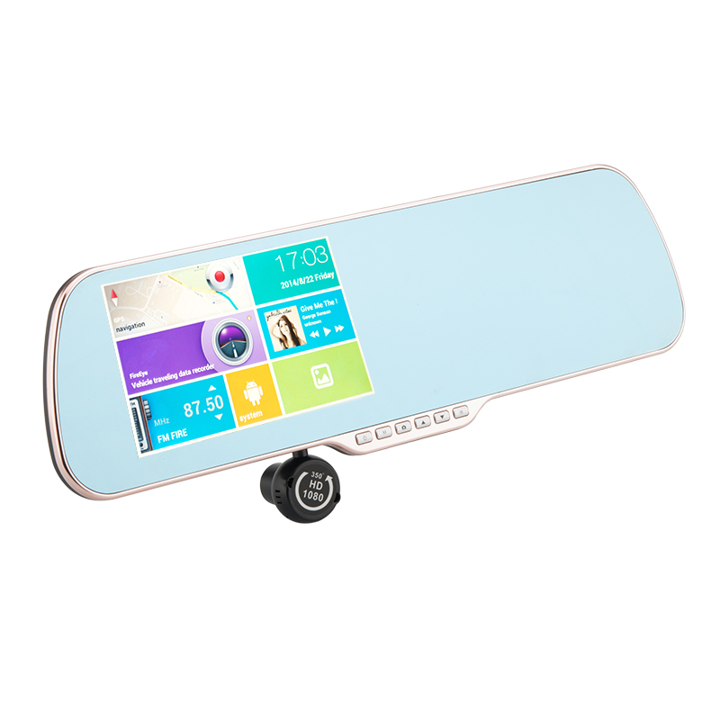 Rearview Mirror Android Mirror 'Gold Vision' - 5 Inch Capacitive Toushscreen, GPS Navigation, Reversing Camera