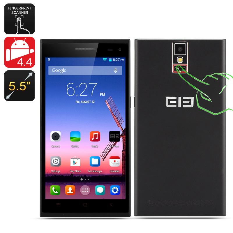 Elephone P2000 Phone - MTK6592, Android 4.4, 2GB RAM, 16GB ROM, Fingerprint Identification, 5.5 Inch IPS Screen, NFC, (Black)