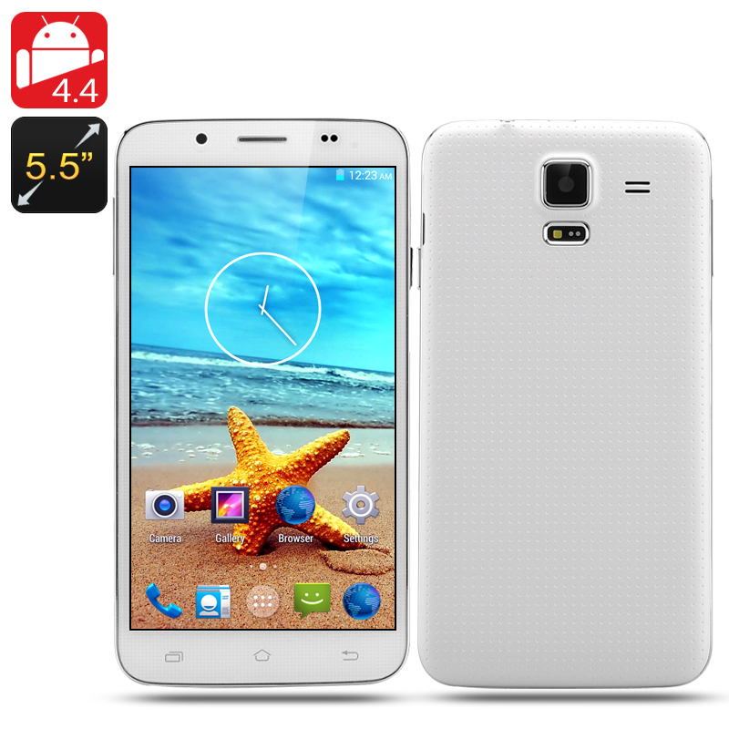 5.5 Inch Quad Core Smartphone 'Scenic' - Android 4.4 OS, 960x540 QHD Screen, 1GB RAM, 8GB Internal Memory (White)