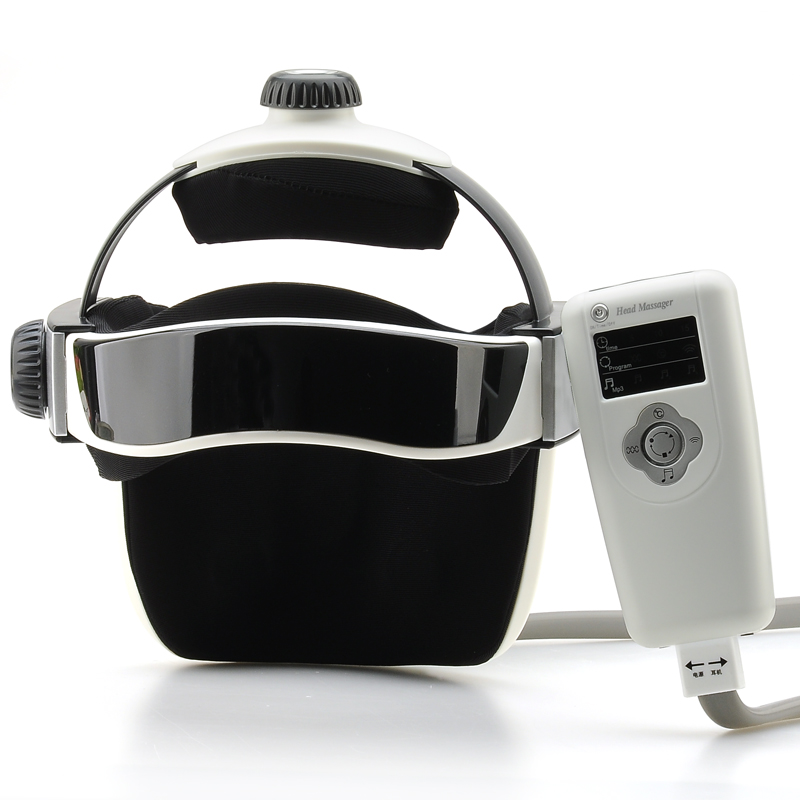 Digital Head + Neck Massager - Heat, Vibration, Air Pressure, Full Function Remote and Soothing Music