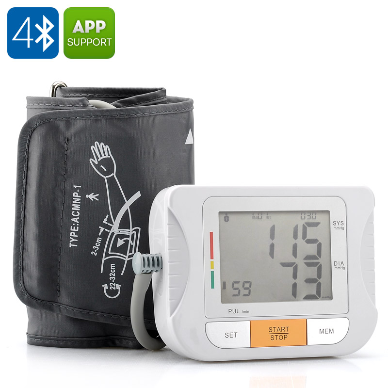 Blood Pressure Monitor - With Pulse Measurement, Bluetooth 4.0, Free App for iOS + Android Devices