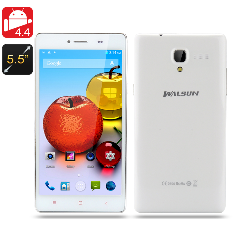 Walsun Fire Phone - 5.5 Inch 960x540 Capacitive IPS Screen, Quad Core 1.3GHz CPU, 1GB RAM, Android 4.4 OS (White)