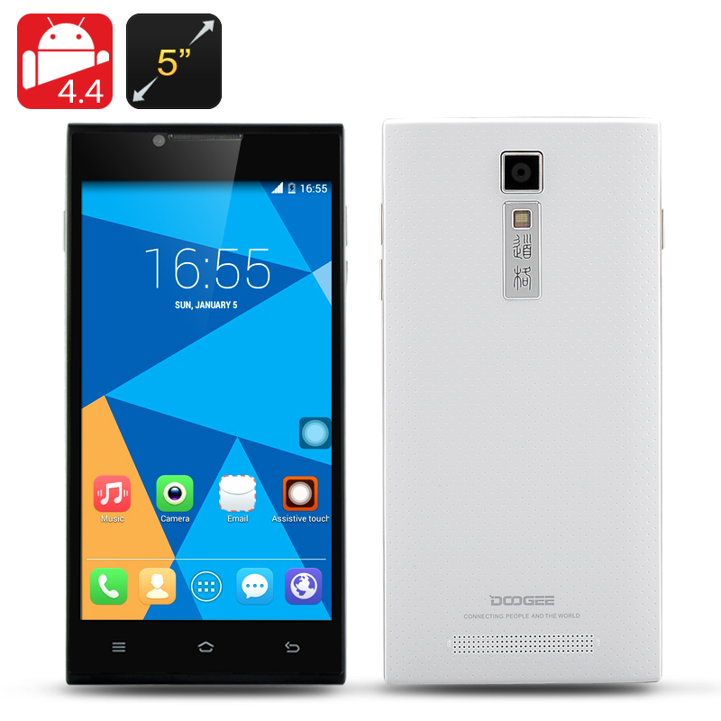 DOOGEE TURBO DG2014 Android 4.4 Phone - MTK6582 Quad Core 1.3GHz CPU, 5 Inch IPS OGS 1280x720 Display (White)