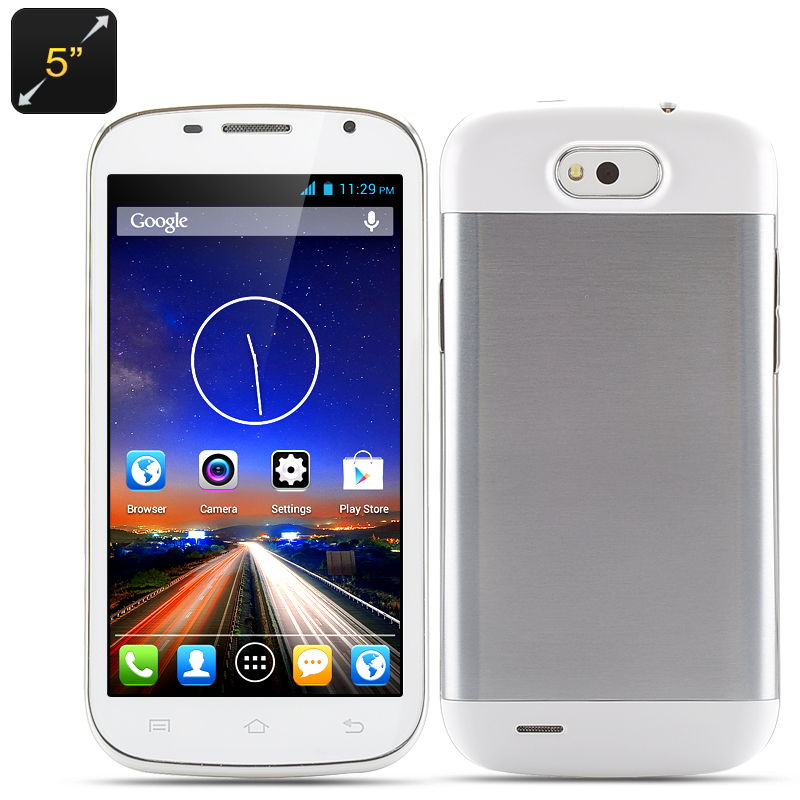 Dual Core Smartphone - 5 Inch Touch Screen Display, MTK6572 Processor, Android 4.2 OS, 2x SIM Card Slots