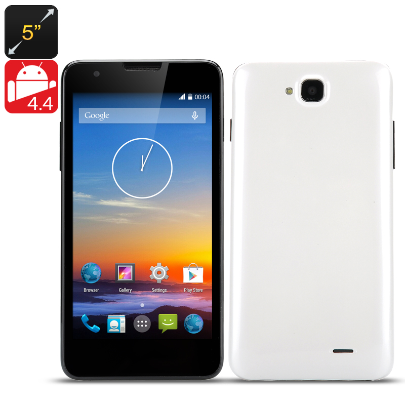 5 inch QHD Smart Phone 'Maestro' - MTK Quad-Core 1.3GHz CPU, 1GB RAM, Android 4.4, Dual SIM, Front + Rear Camera (White)