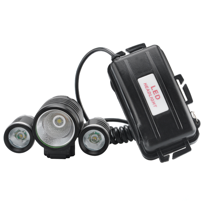CREE LED Head + Bike Lamp - 1800 Lumens, 1x CREE XM-L T6 LED, 2x R2 LED, 4 Modes, Head Strap, Bicycle Handelbar Fitting