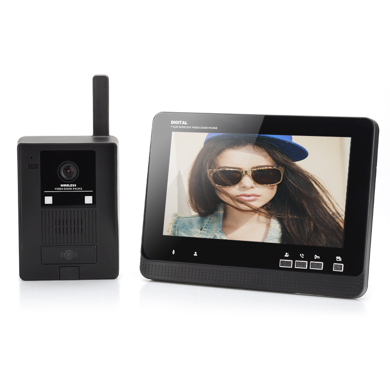 Wireless Video Door Phone - 7 Inch LCD Monitor, Auto Record Function, 1/3 Inch CMOS Camera, 300 Meters Range