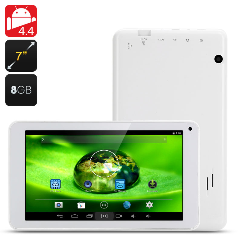 7 Inch Android 4.4 Tablet PC - 800x480 Display, Actions ATM7021 ARM Cortex-A9 Dual Core CPU, 8GB Internal Memory