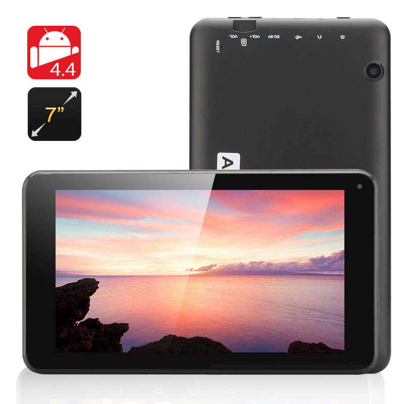 7 Inch Android 4.4 Tablet 'Eta' - Quad Core A33 CPU, Mali-400 GPU, 8GB Internal Memory, OTG (Black)