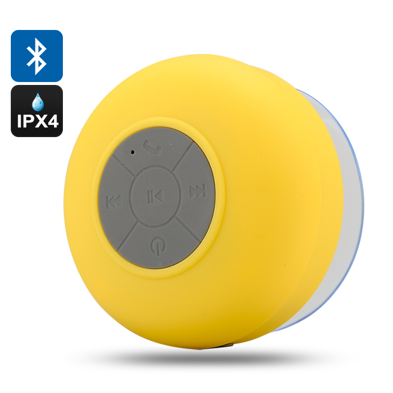 Bluetooth Shower Speaker 'AquaSound' - IPX4 Water Resistant, Built In Microphone, Call Answering, Suction Cup (Yellow)