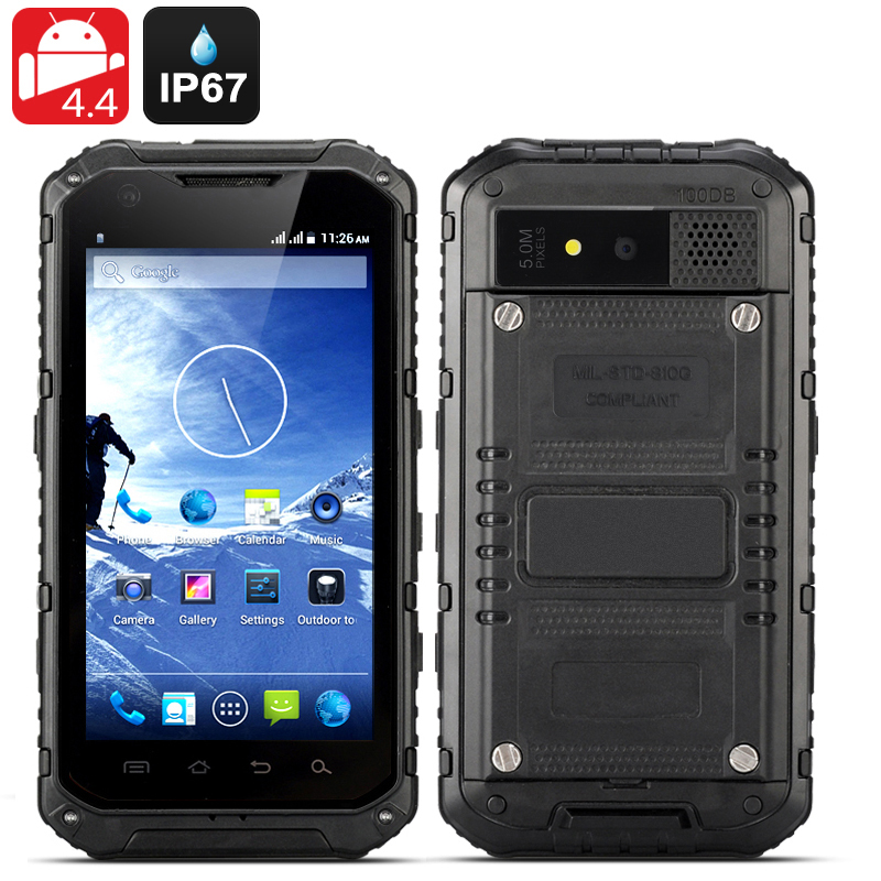 Android 4.4 Rugged Smartphone 'Ox II' - Quad Core CPU, IP67 Waterproof + Dust Proof Rating, OTG, 3000mAh Battery (Black)