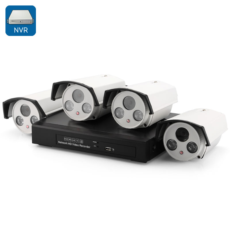 4 Channel HD NVR Kit - 4 X 720p IP Cameras, 30M IR Night Vision, Phone Support, Motion Detection, ONVIF 2.0
