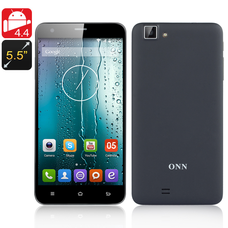 ONN V9 5.5 Inch Smartphone - Quad Core 1.3GHZ CPU, Android 4.4, 1GB RAM, 4GB Memory, Dual SIM, 8MP Rear Camera