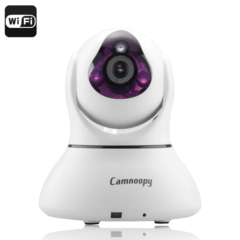 Camnoopy CN-PT100-E IP Camera - Wi-Fi, 720p, Plug and Play, Night Vision, Local Recording, Phone Support, Alarm, Pan + Tilt