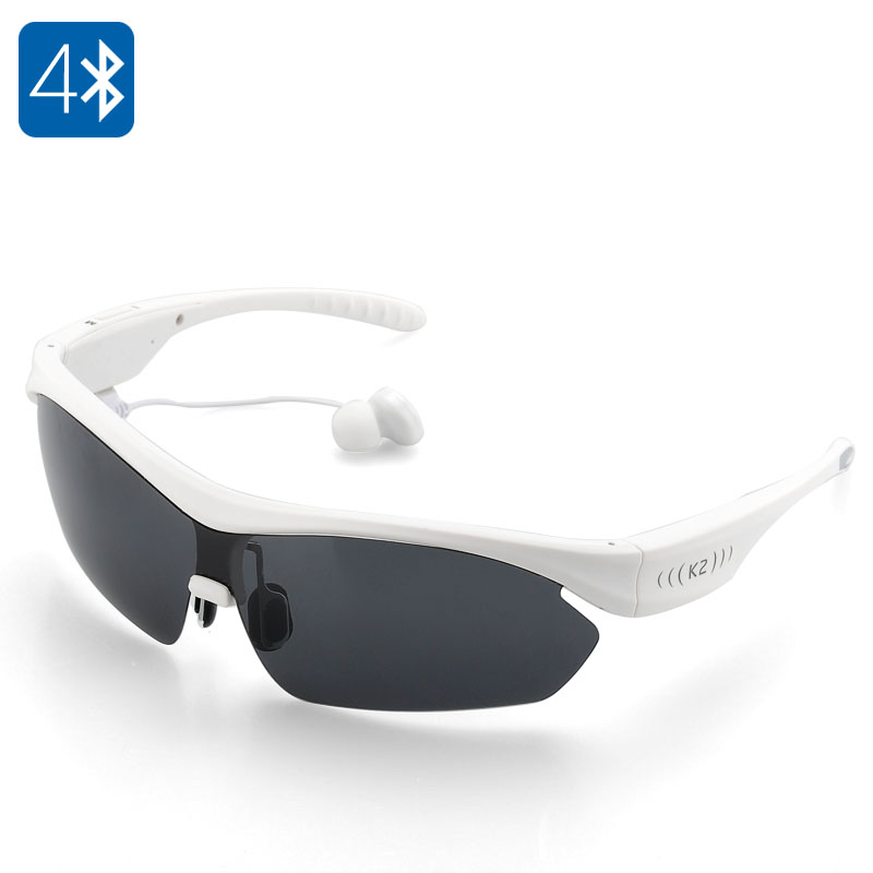 K2 Polarized Bluetooth Sunglasses - Noise Reduction, Handsfree A2DP, PC Polycarbonate Frame (White)