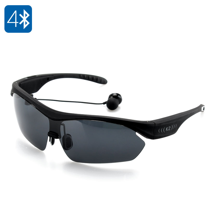 K2 Polarized Bluetooth Sunglasses - PC Polycarbonate Frame, Noise Reduction, Handsfree A2DP (Black)